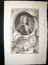 Houbraken C1750 Folio Antique Portrait. Edward Russell, 1st Earl of Orford